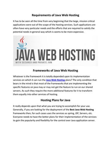 Requirements of java web hosting pdf by MicroHost - issuu