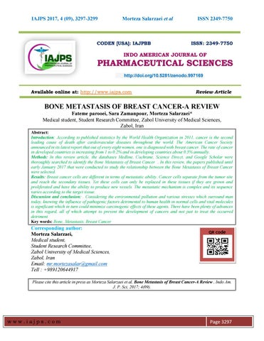 d6915aa6fc BONE METASTASIS OF BREAST CANCER-A REVIEW by chandrasekhar rao Baru ...