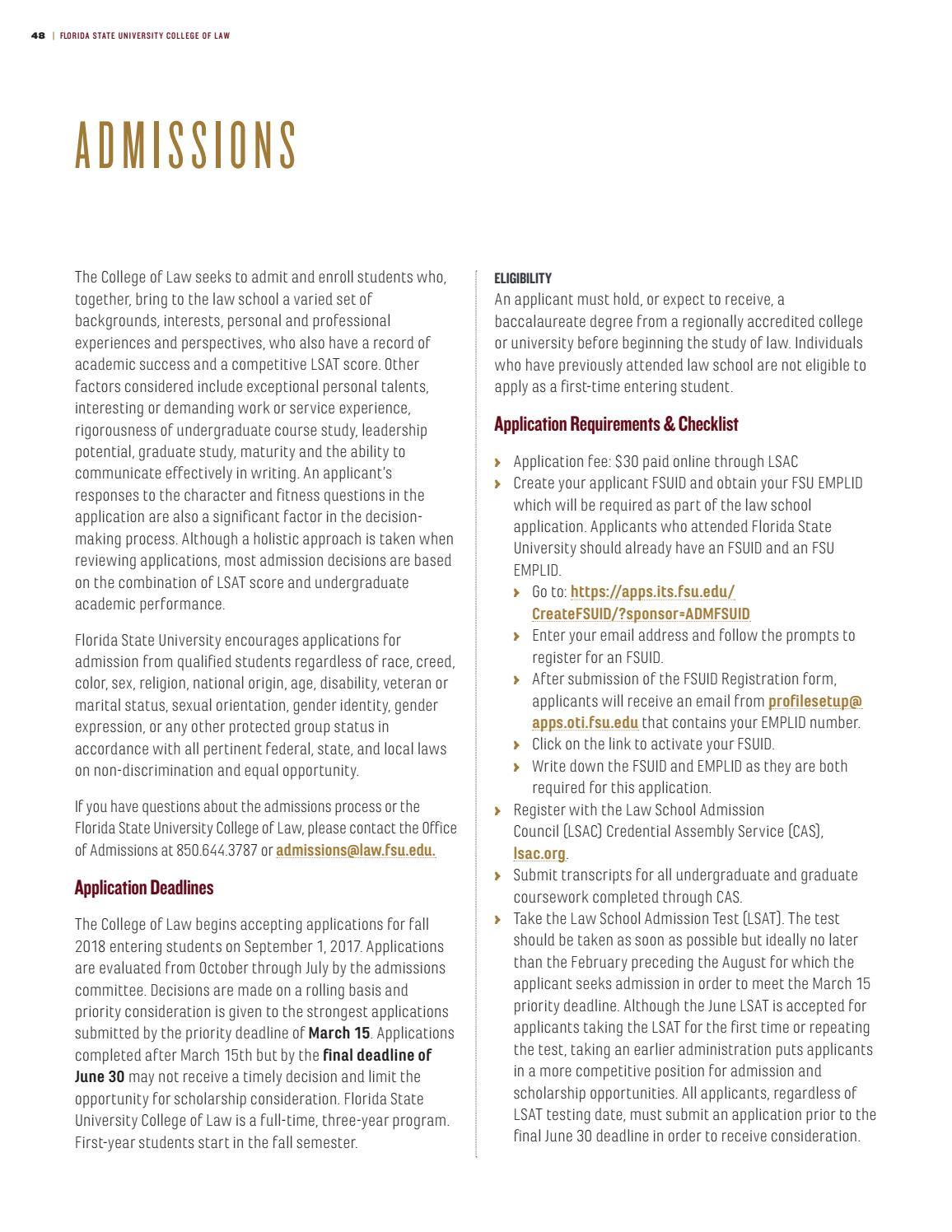 FSU College of Law 2017-2018 Viewbook by Florida State