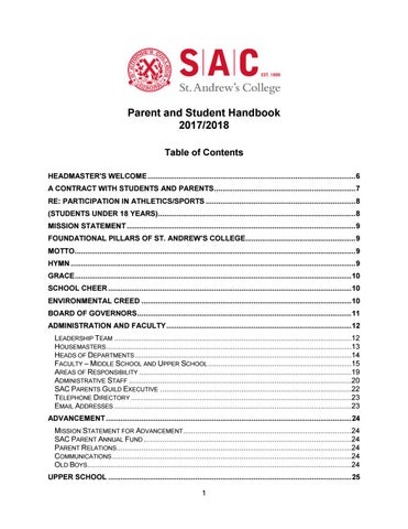 2b3aac29160366 Parent and Student Handbook 2017 2018 Table of Contents HEADMASTER S  WELCOME .