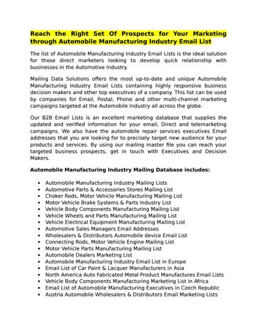 Automobile manufacturing industry email lists by Mailing Data