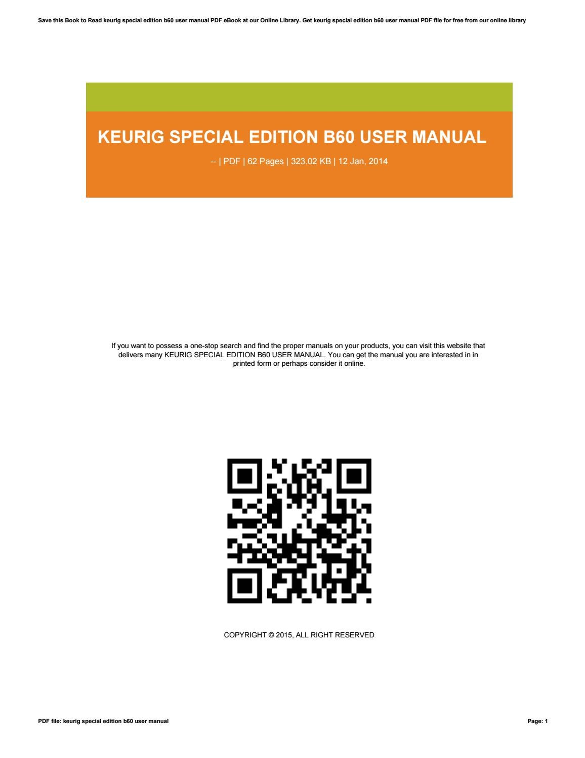 Keurig B60 Special Edition Owners Manual