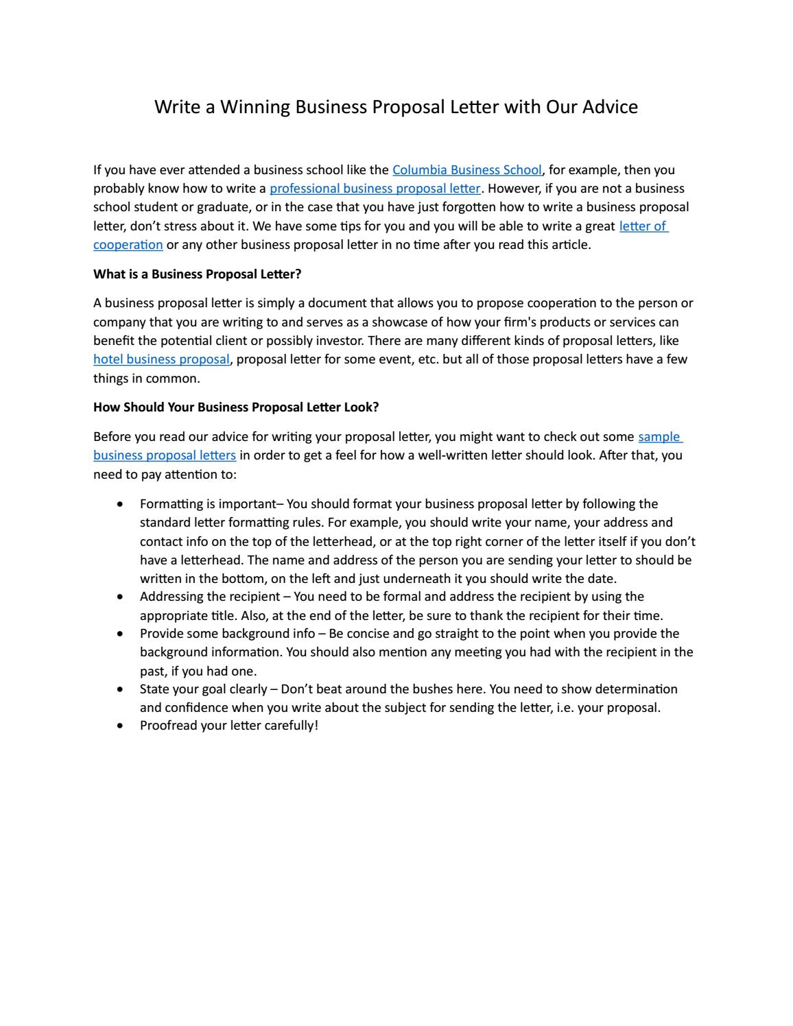 Writing A Business Proposal Letter from image.isu.pub