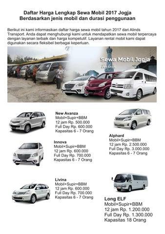 Daftar Harga Rental Mobil Jogja 2017 Alinds Transport By Alinds Transport Sewa Mobil Jogja Issuu