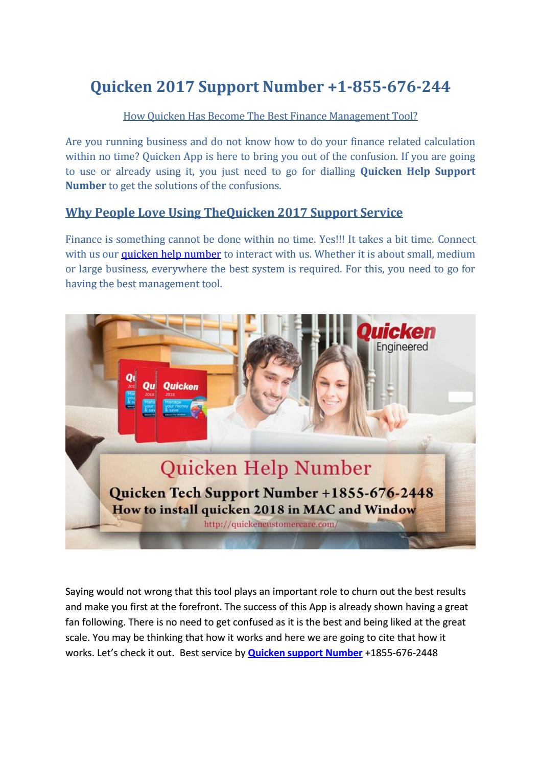 Quicken Support Number 855-676-2448 Customer help number by