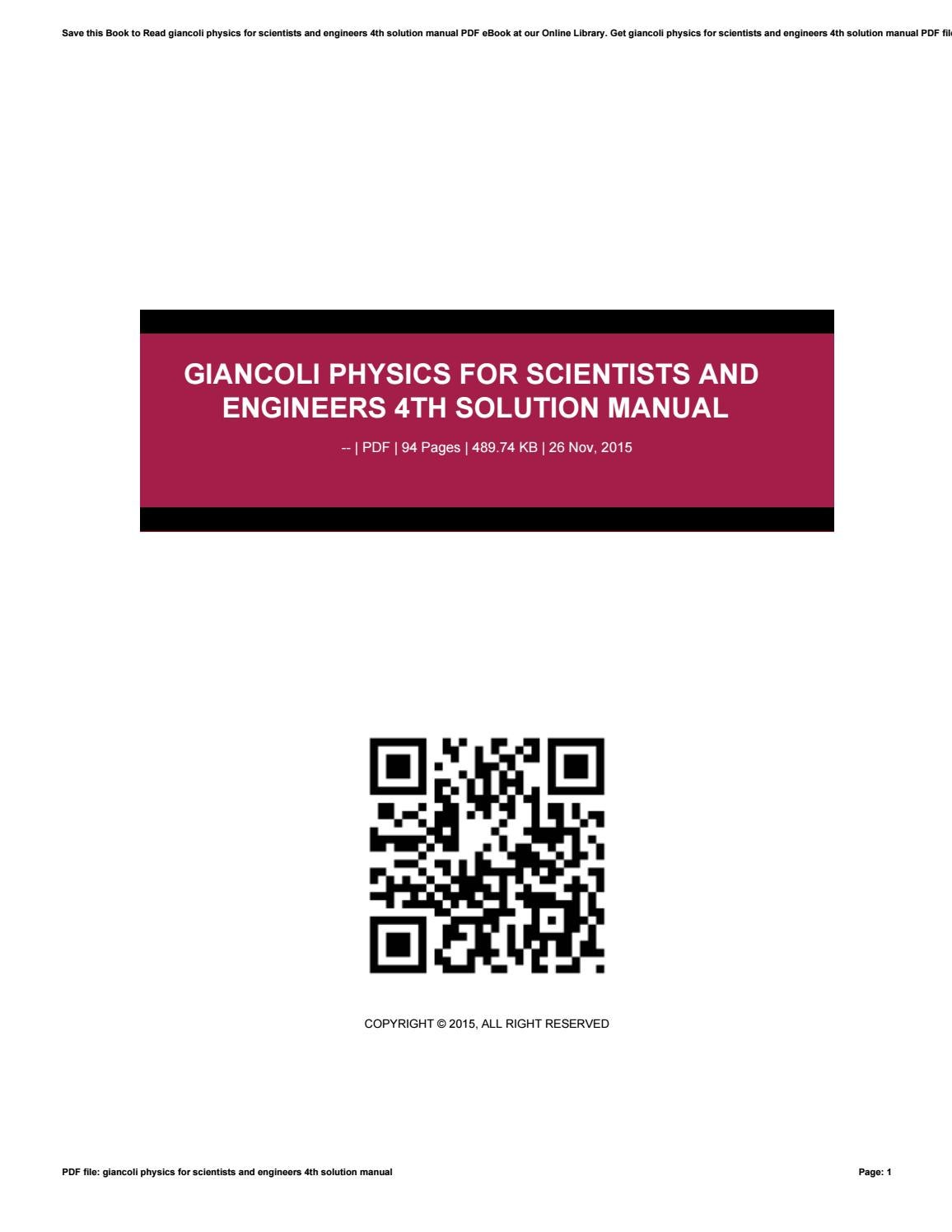 Giancoli physics for scientists and engineers 4th solution manual by  kasola95hsopam - issuu