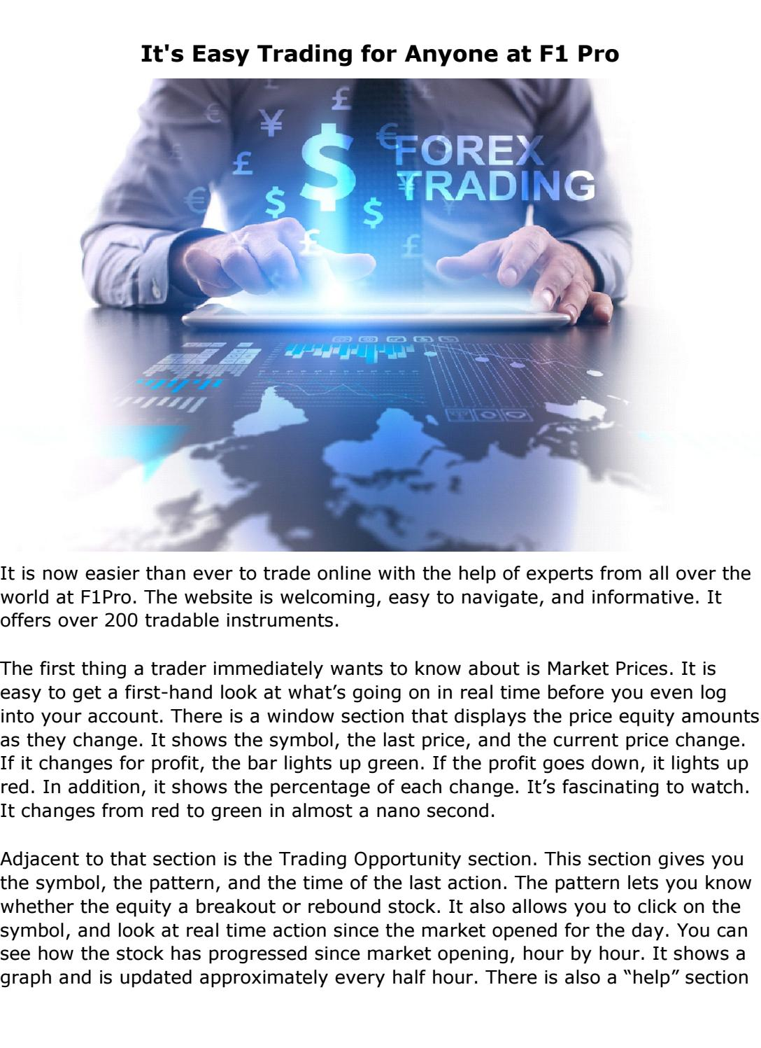 Its Easy Trading For Anyone At F1 Pro
