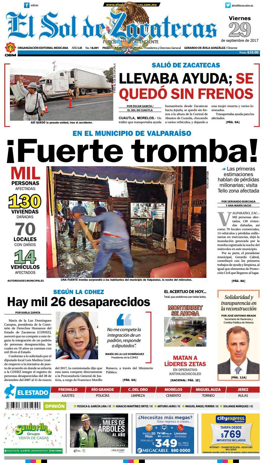 El Sol De Zacatecas 29 De Septiembre 2017 By El Sol De Zacatecas  # Muebles Faure Orizaba