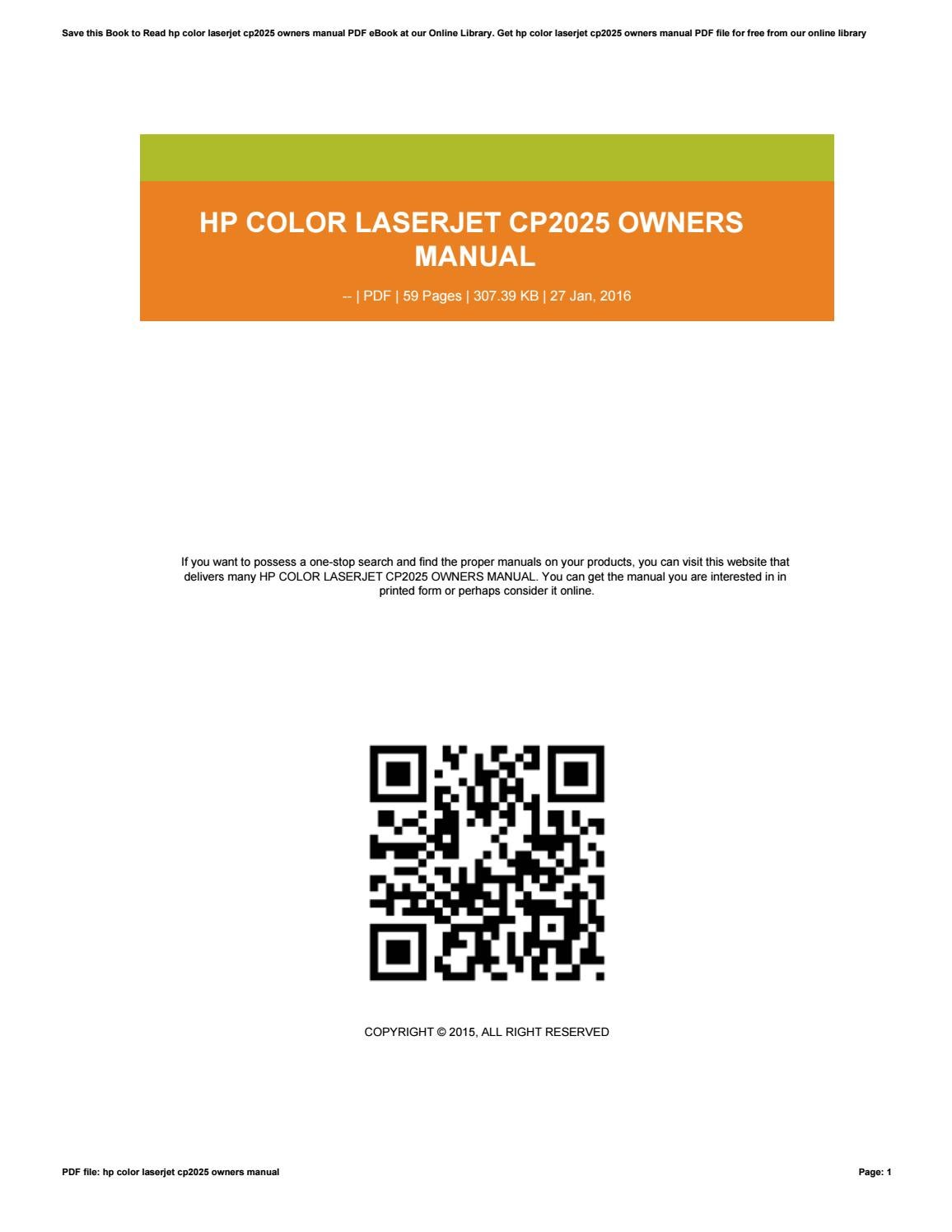 Hp color laserjet cp2025 owners manual by jasmine763jsiwos - issuu