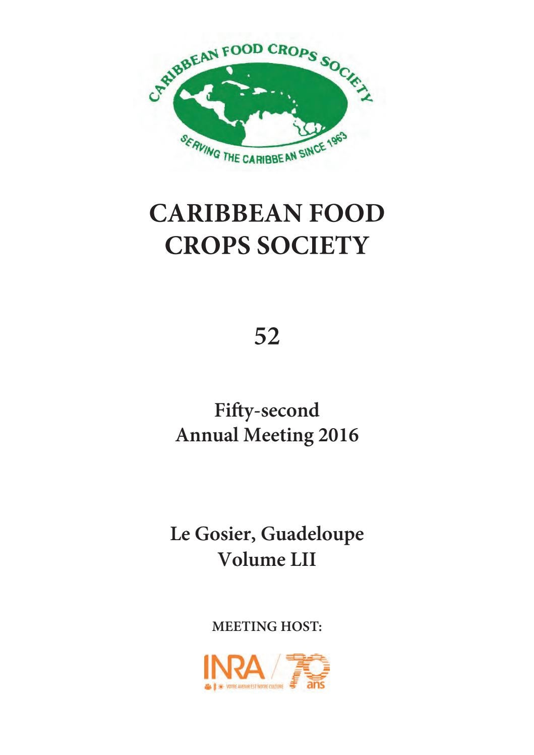Proceedings of the 52nd annual meeting of the Caribbean Food