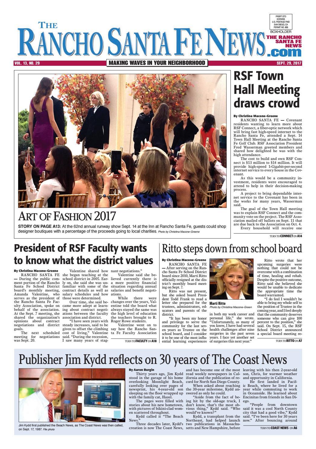 Rancho Santa Fe News September 29 2017 By Coast News Group Issuu