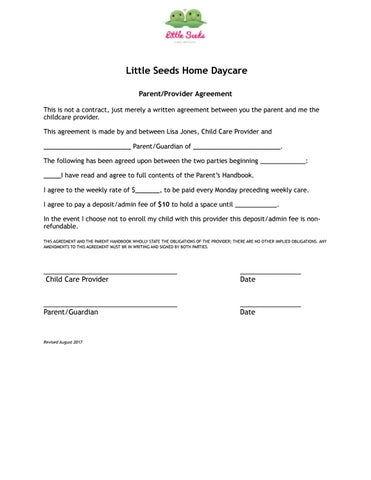 Daycare Agreement By Little Seeds Home Daycare Issuu