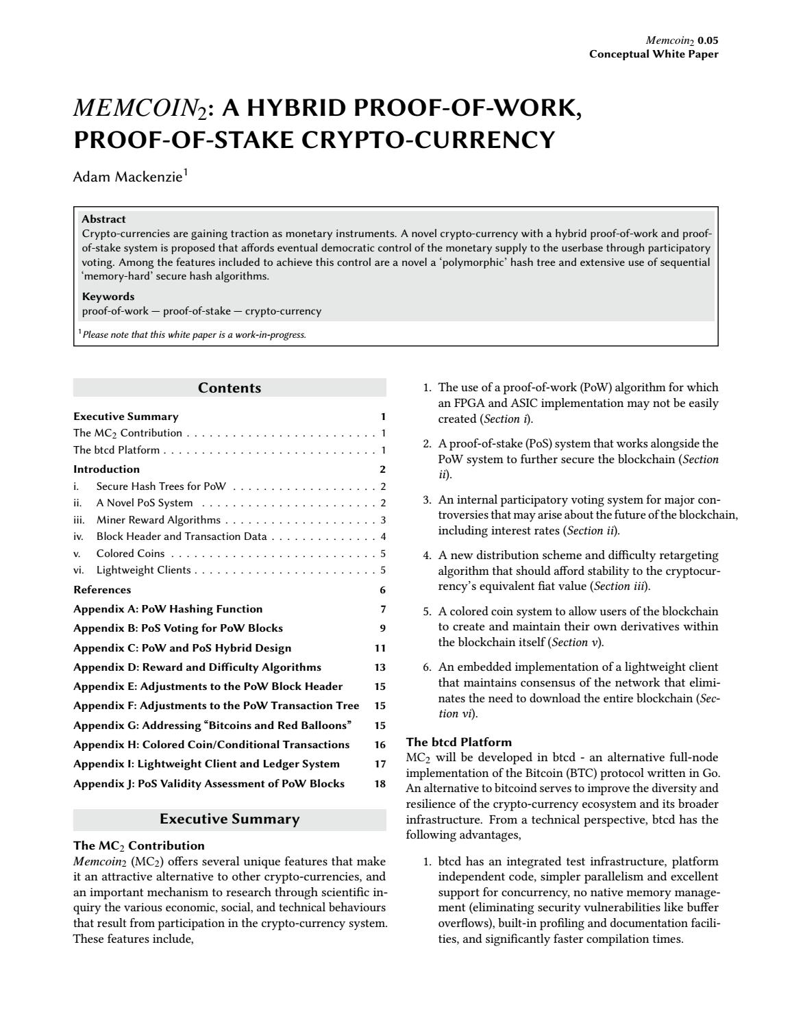 Proof of memory cryptocurrency