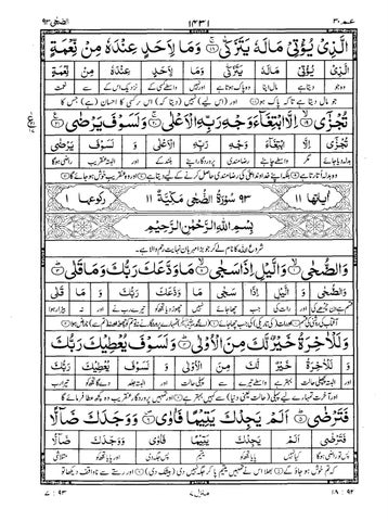 Quran Surah 93 ﴾الضحى﴿ Ad-Dhuha Urdu Translation (Tarjuma