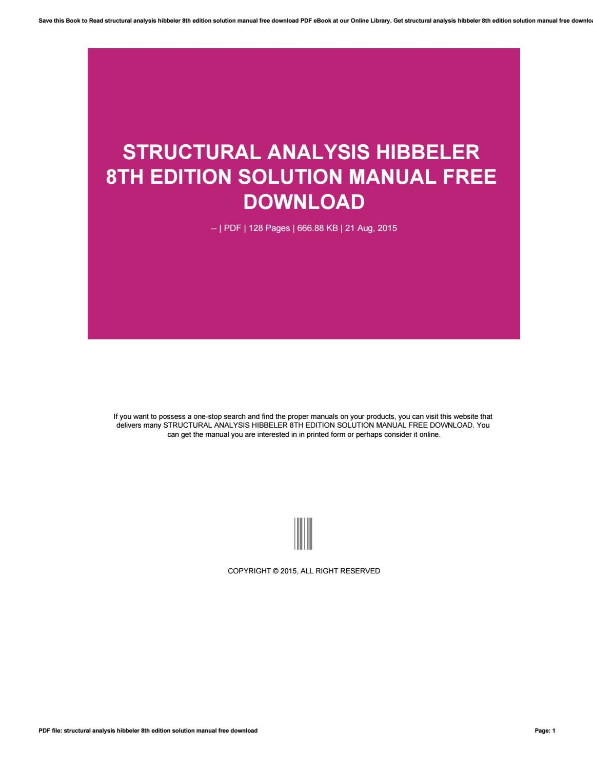 Structural analysis hibbeler 8th edition solution manual free download by  andreas7yuana - issuu