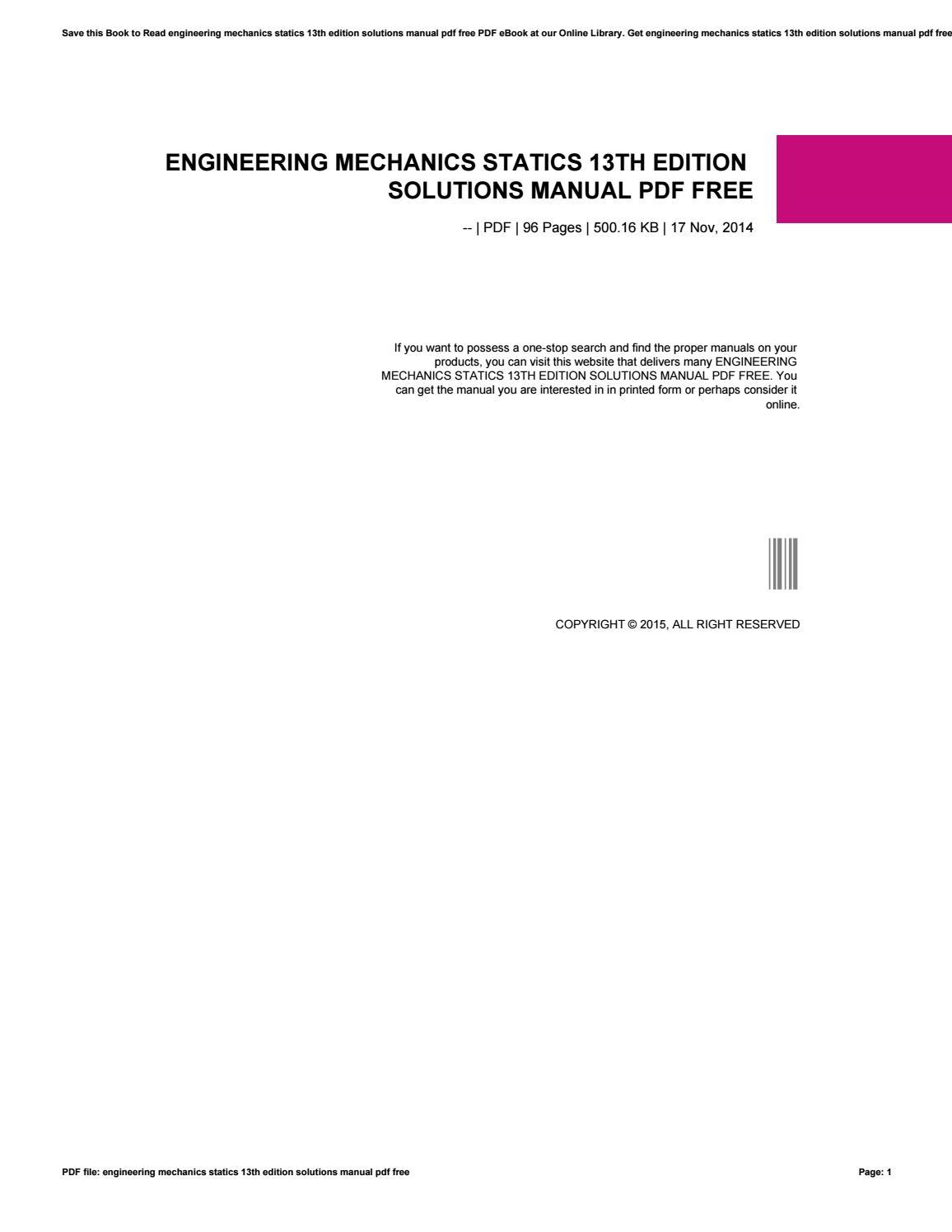 Engineering mechanics statics 13th edition solutions manual pdf free by  andreas7yuana - issuu