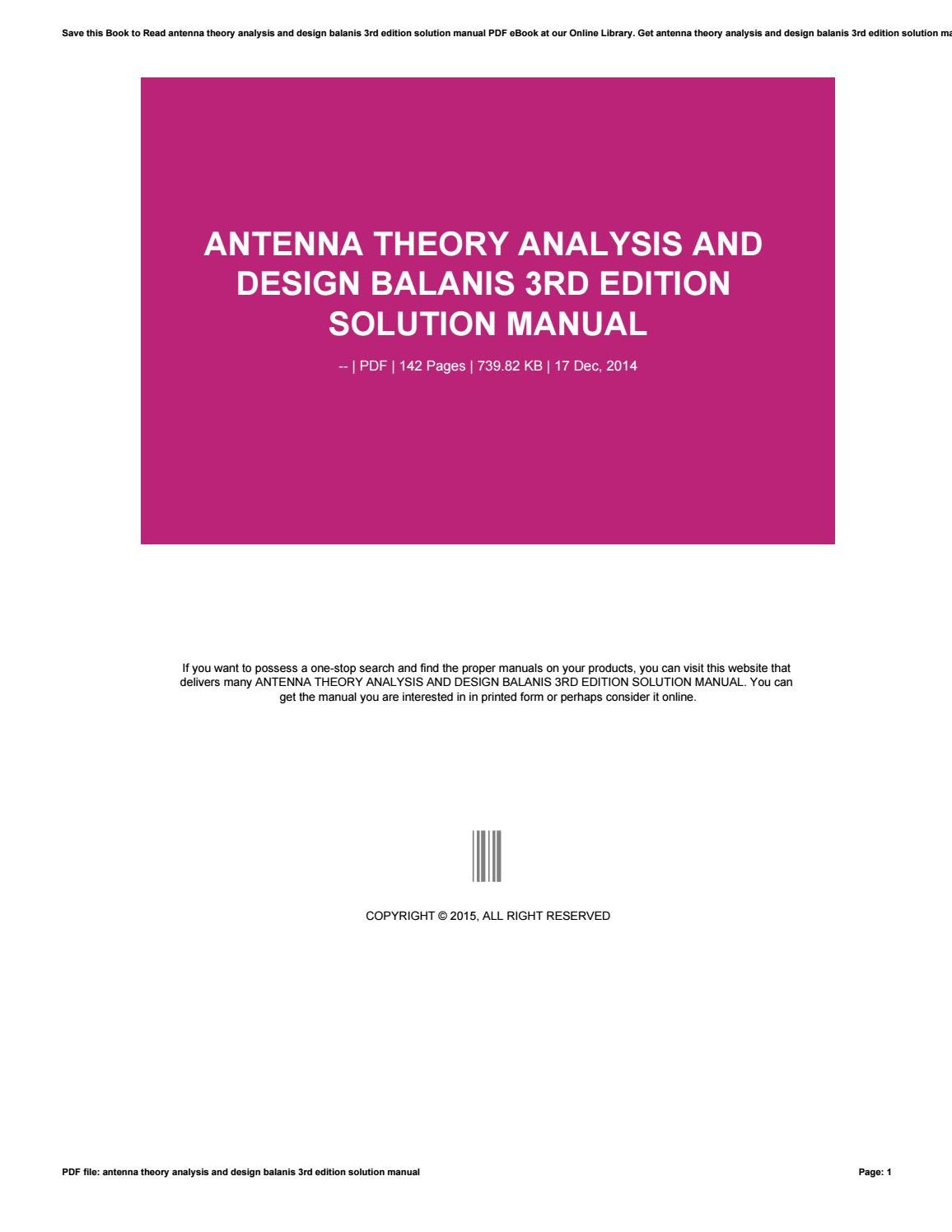 Antenna theory analysis and design balanis 3rd edition solution manual by  rasiman98olsawe - issuu