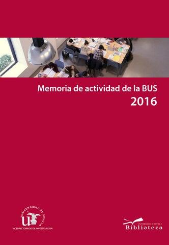Memoria de actividad de la Biblioteca de la Universidad de Sevilla ...