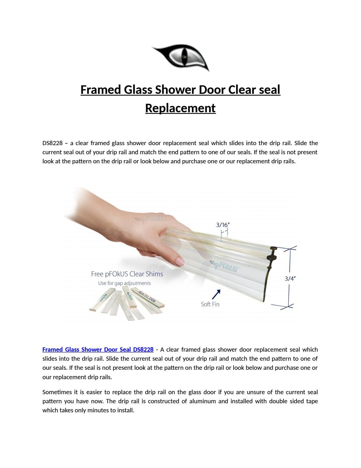 Framed glass shower door clear seal replacement by Seopfocus - issuu