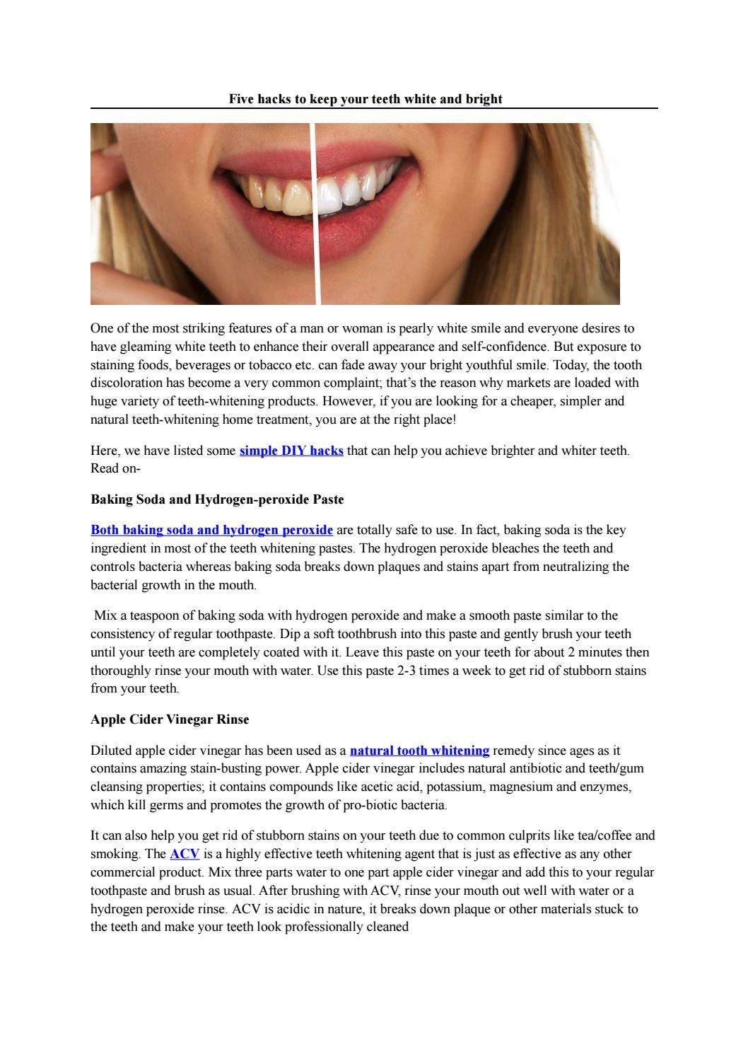 Five Hacks To Keep Your Teeth White And Bright Secdental By
