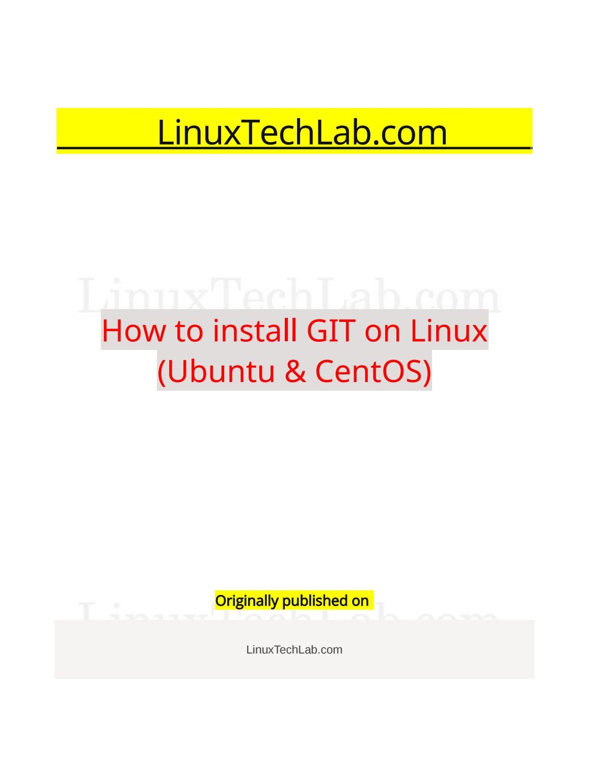 How to install git on linux (ubuntu & centos) by