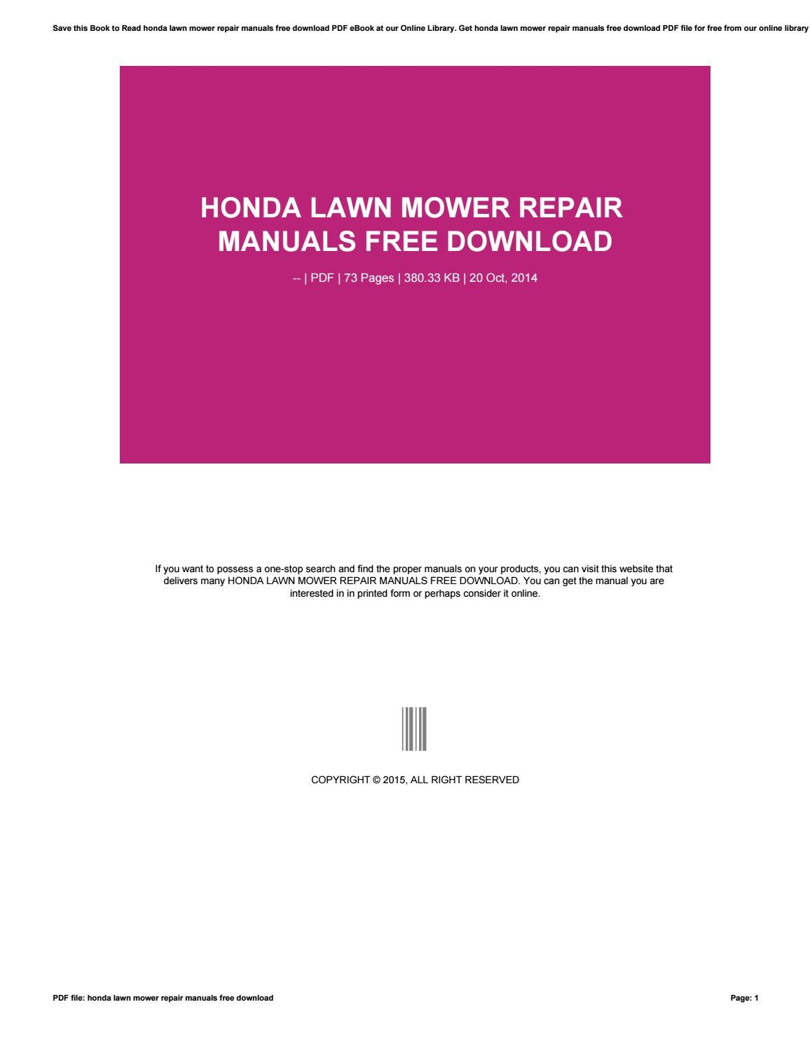 Honda lawn mower repair manuals free download by lilis10novitasari - issuu