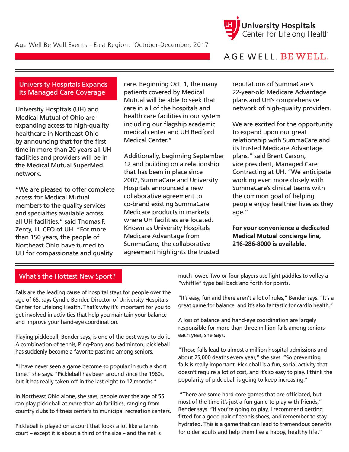 UH Age Well Be Well Newsletter, East by UH Age Well Be Well