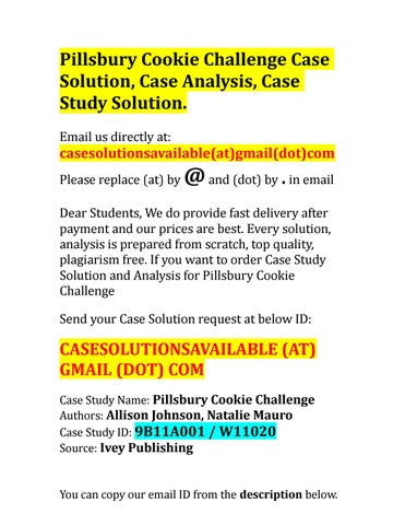 pillsbury cookie challenge case analysis