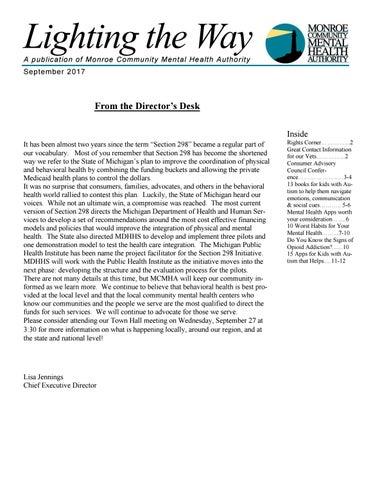 Mcmha Consumer Newsletter September 2017 By Monroe Community Mental