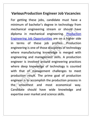 various production engineer job vacancies for getting these jobs candidate must have a minimum of bachelors degree in technology from