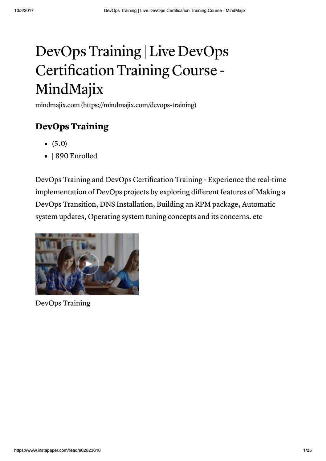 Devops Training Live Devops Certification Training Course Mindmajix