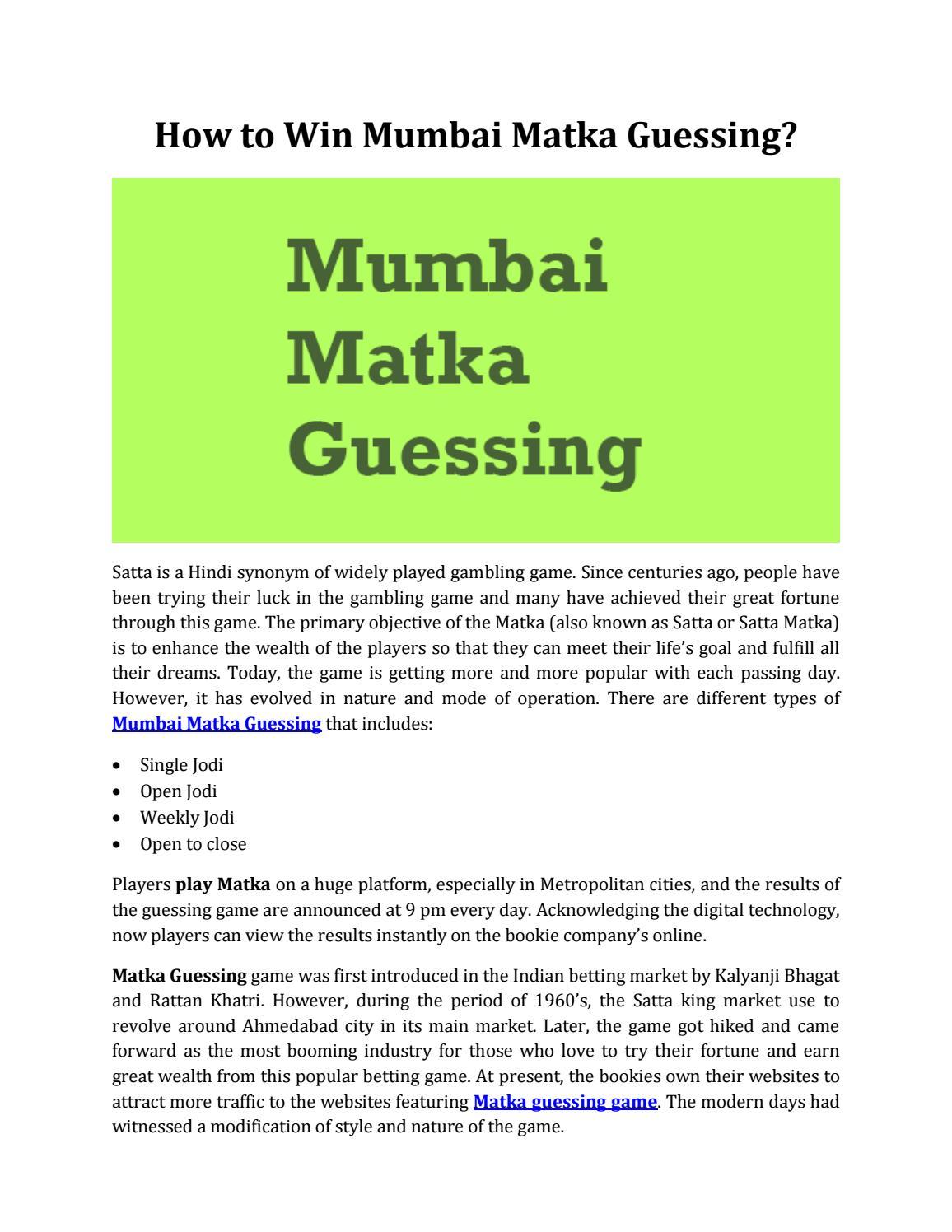 How To Win Mumbai Matka Guessing By Satta Matka King Issuu