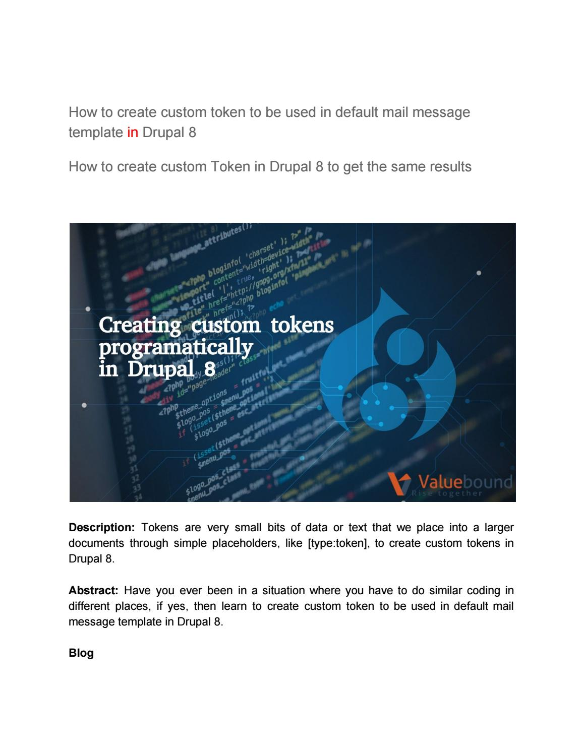 How to create custom token to be used in default mail