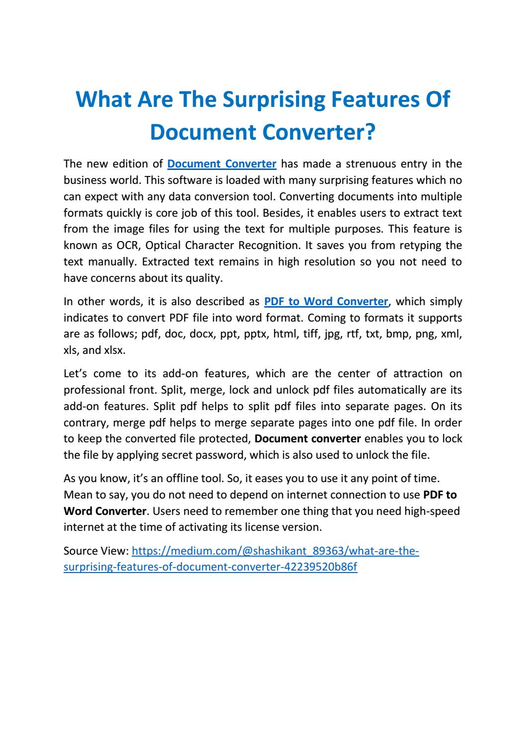 What are the surprising features of document converter by