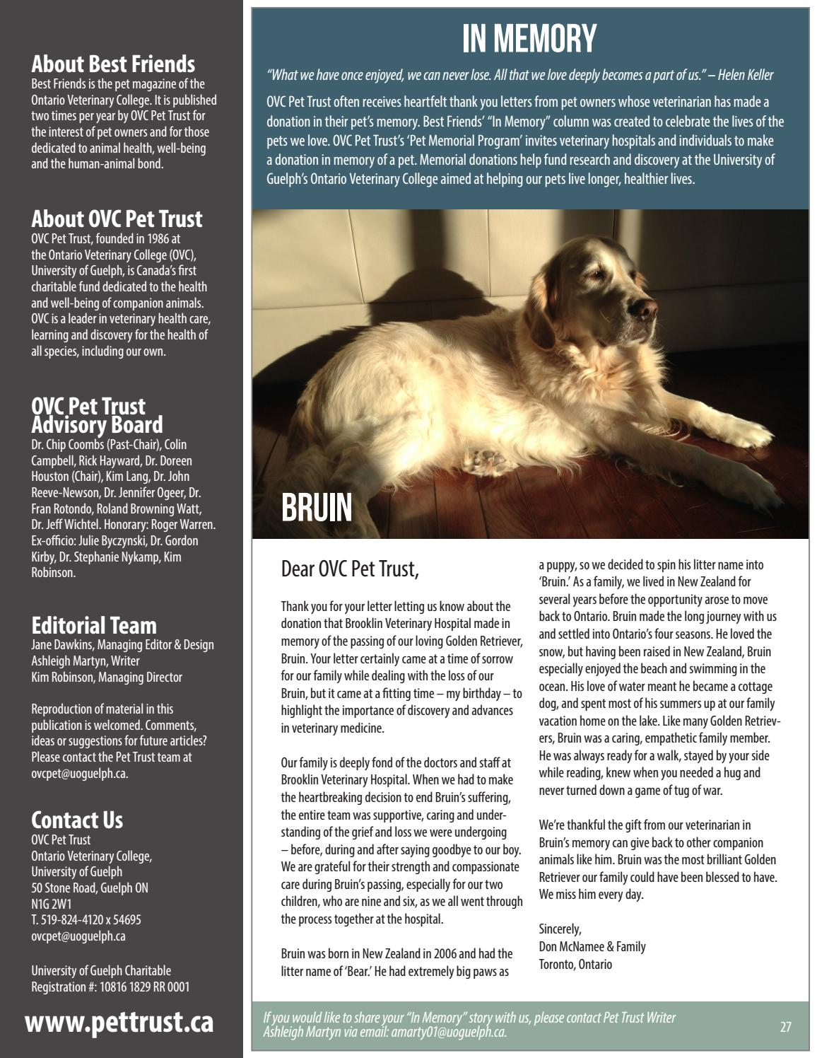 Best Friends, Pet Magazine, Ontario Veterinary College, Fall