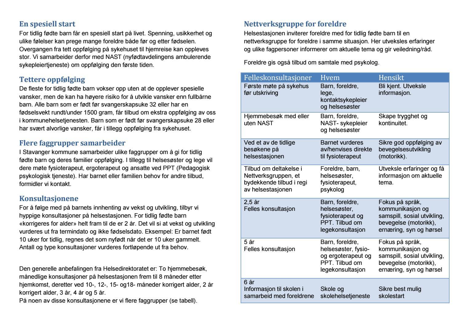 For Tidlig Fodte Informasjon Fra Stavanger Kommune 2014 By Stavanger Kommune Issuu