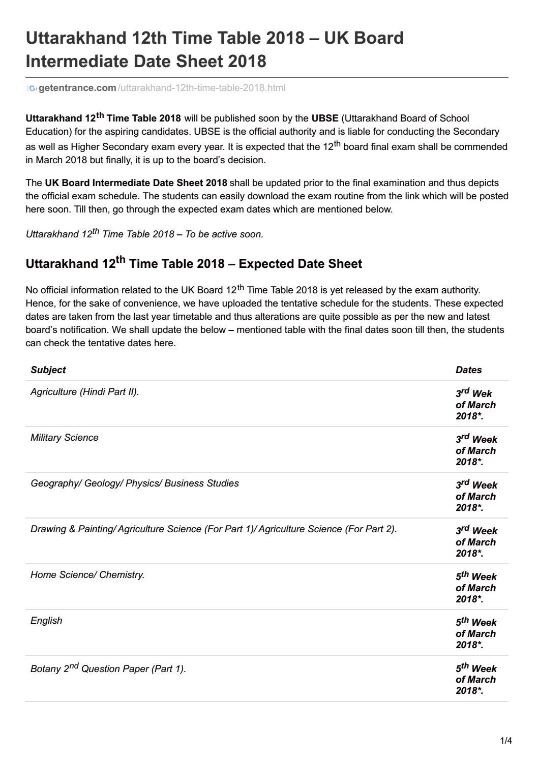 Uttarakhand 12th time table 2018 uk board intermediate date sheet