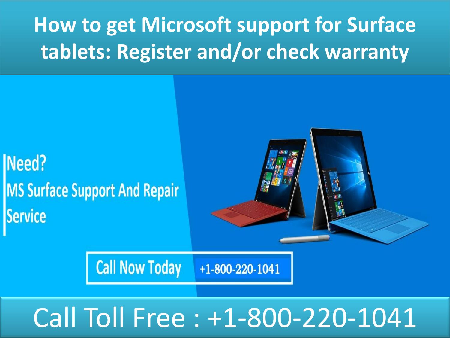How To Get Microsoft Support For Surface Tablets 18002201041 By