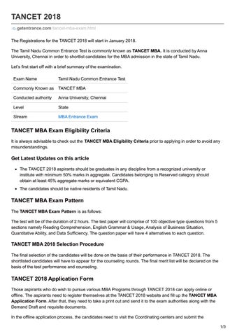 Tancet 2018 entrance exam by Getentrance - issuu