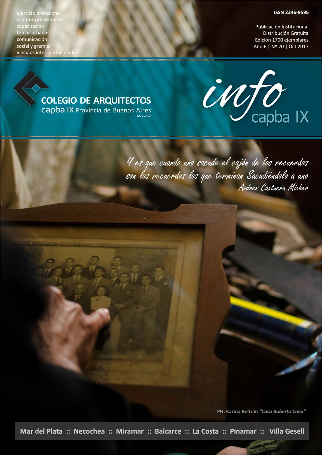6782dd5f4a973 Infocapba9 Nº 20 by Colegio de Arquitectos de la Provincia de Buenos Aires  Distrito IX - issuu