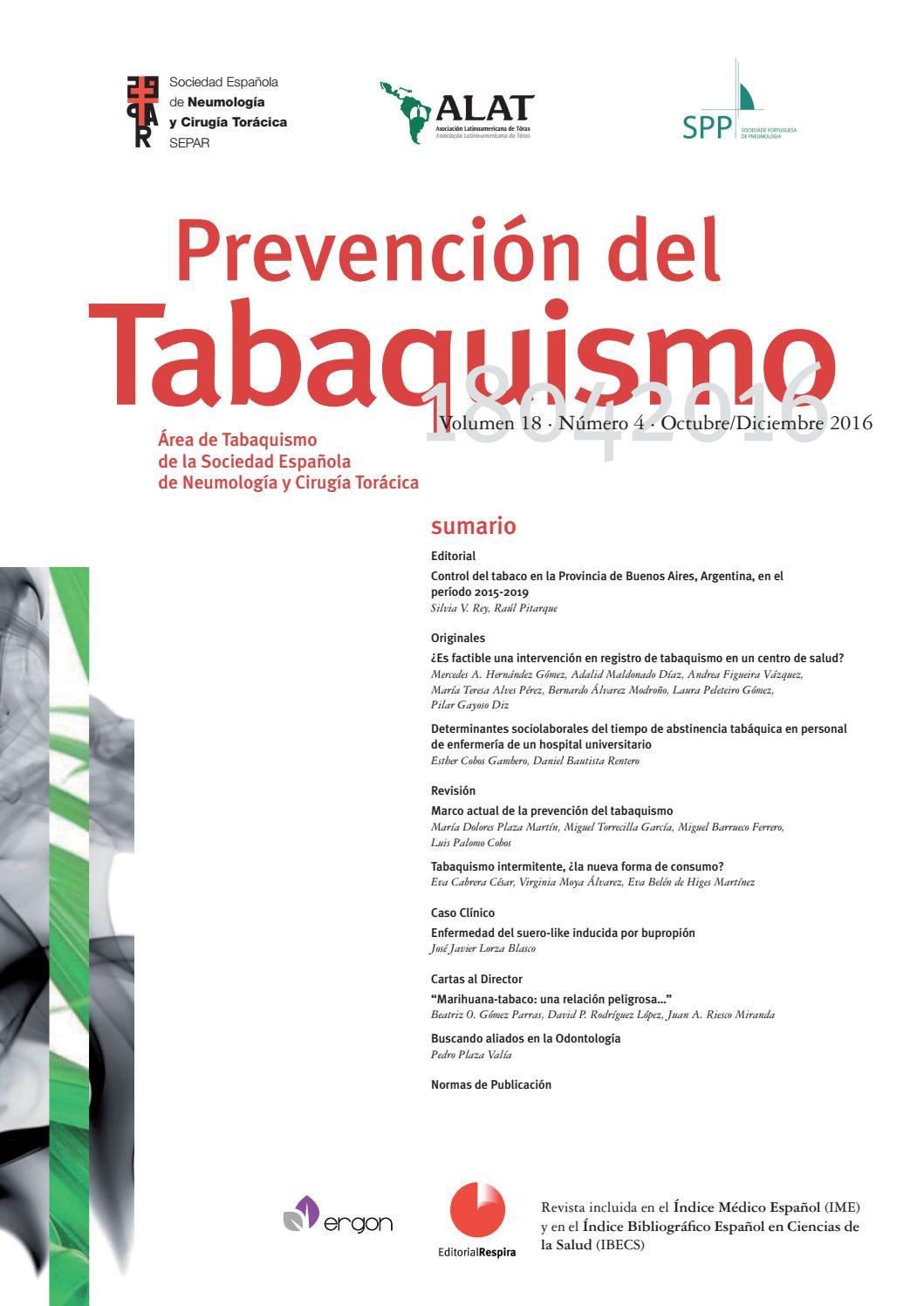 Revista Prevención del tabaquismo octubre-diciembre 2016 by SEPAR ...