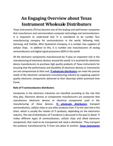 An engaging overview about texas instrument wholesale distributors ...