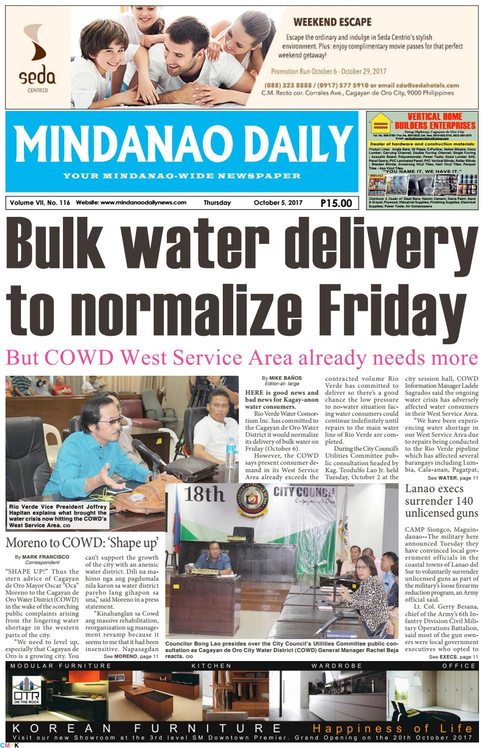 Mindanao Daily October 5 2017 By Dante Sudaria