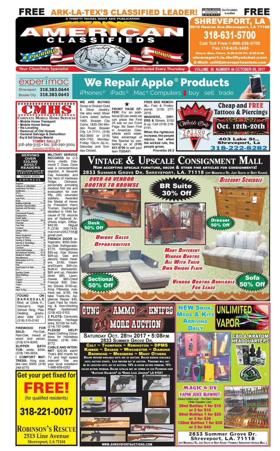 74355eb9a American Classifieds Shreveport, LA. Oct. 5, 2017 by Shreveport American  Classifieds - issuu