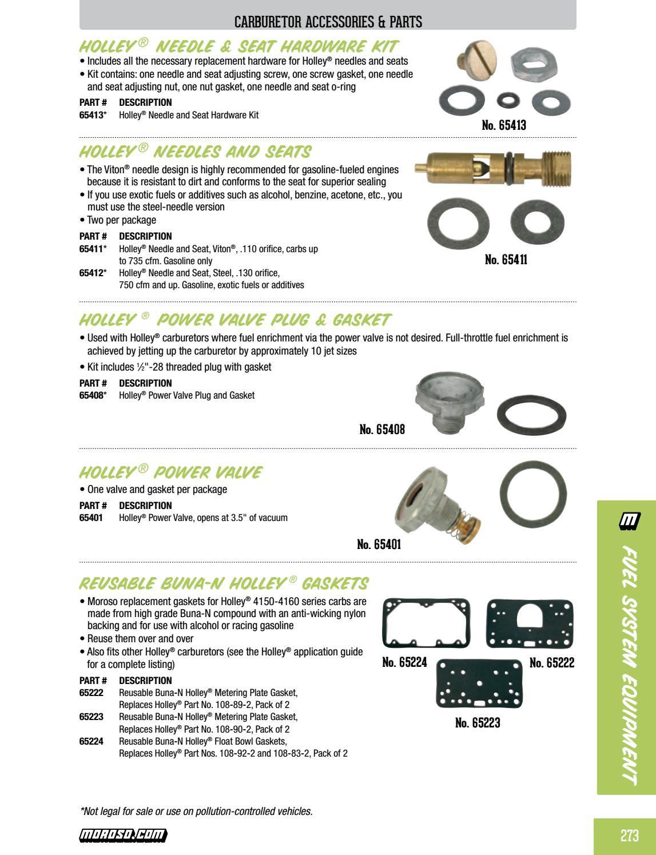 "Carburetor .110/"" Needle /& Seat Non-Adjustable Viton w// Gasket Fits One Holley"