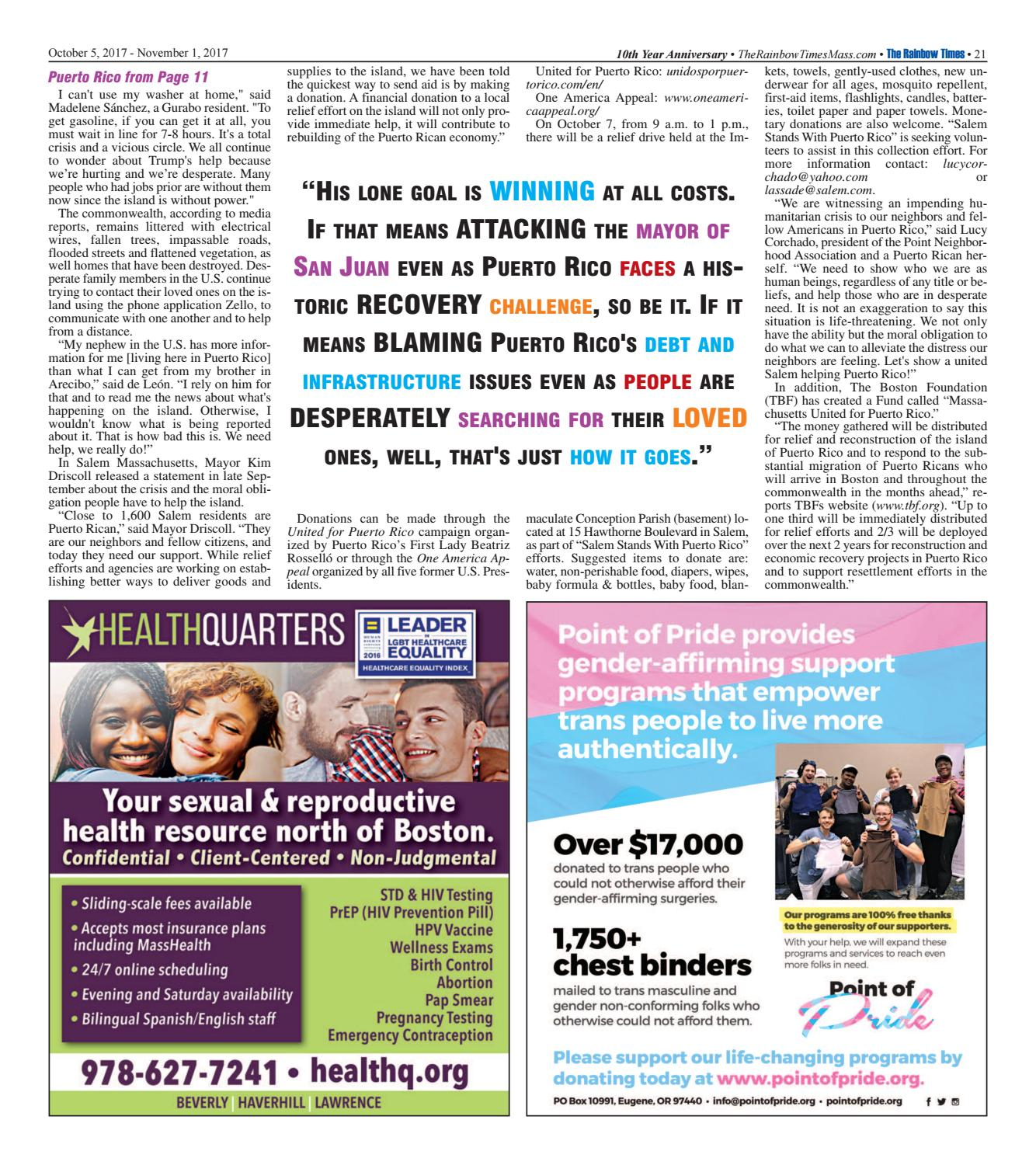 The Rainbow Times' October 2017 Issue by The Rainbow Times