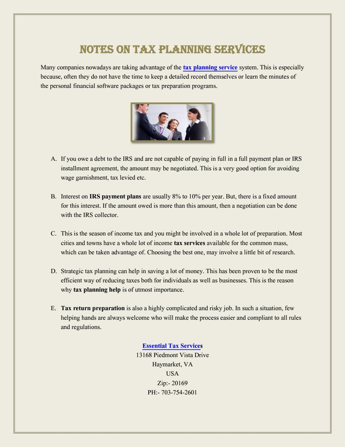 Notes on Tax Planning Services by AlexaGabriel - issuu