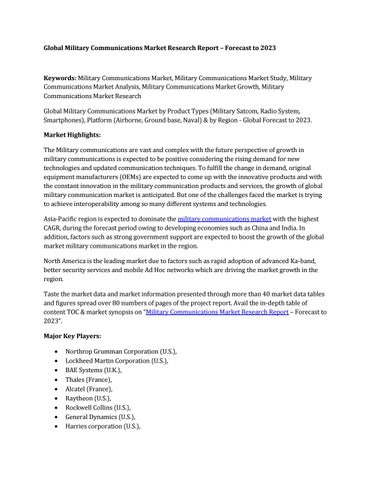 Global military communications market by MarketRF39 - issuu
