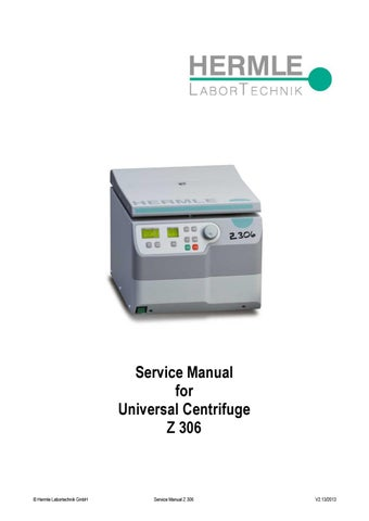 hermle z 306 universal centrifuge service manual by salvatore rh issuu com Hermle Parts Listing hermle centrifuge z206a service manual