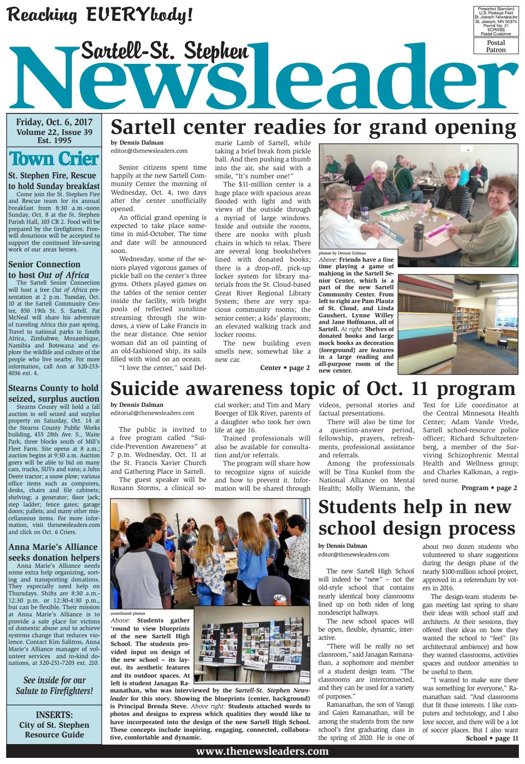 Berg katherine physical therapy - Sartell St Stephen Newsleader Oct 6 2017 By The Newsleaders Issuu